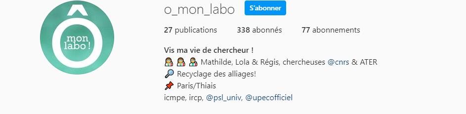 « o_mon_labo » : un compte Instagram pour vulgariser le quotidien de chercheurs